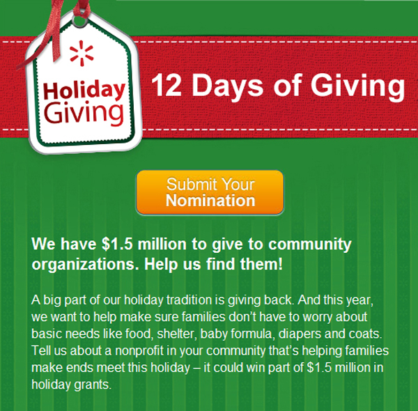Walmart 12 Days Of Giving Campaign