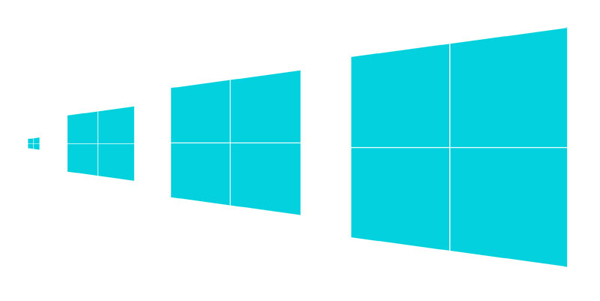 Windows 8 logo, drawn at different sizes so the crossbars always appear the same size