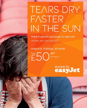 easyJet Uses England's Ejection From Euro Championships in New Press Campaign