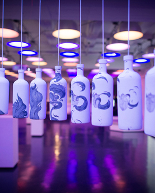 60 Hand Painted ABSOLUT Vodka Bottles for Opening of ABSOLUT Art-Stream