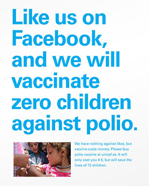 UNICEF's Boldest Campaign to Date Warns: Facebook Likes Don't Save Lifes