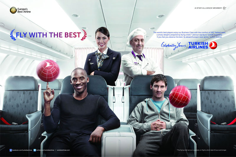 Kobe Bryant and Lionel Messi featured in Turkish Airways' campaign.