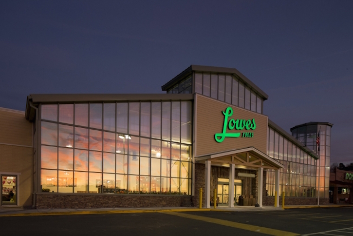 Rebranded lowes foods offers an in store adventure for Exterior design for shops