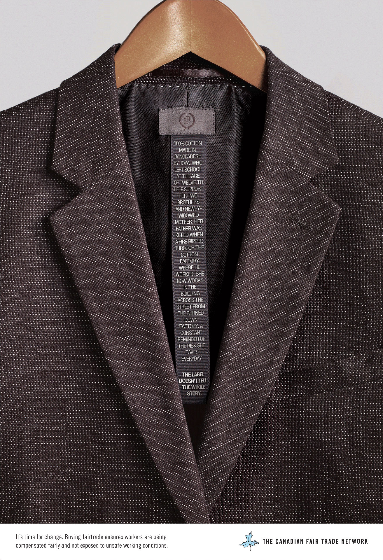 Life stories written on the clothing labels